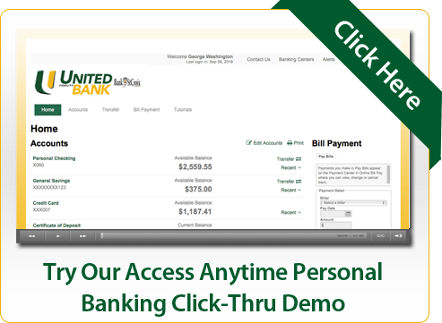 Try Our Access Anytime Personal Banking Click-Thru Demo