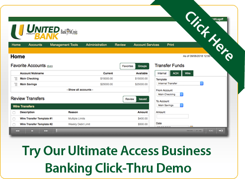 Try Our Ultimate Access Business Banking Click-Thru Demo