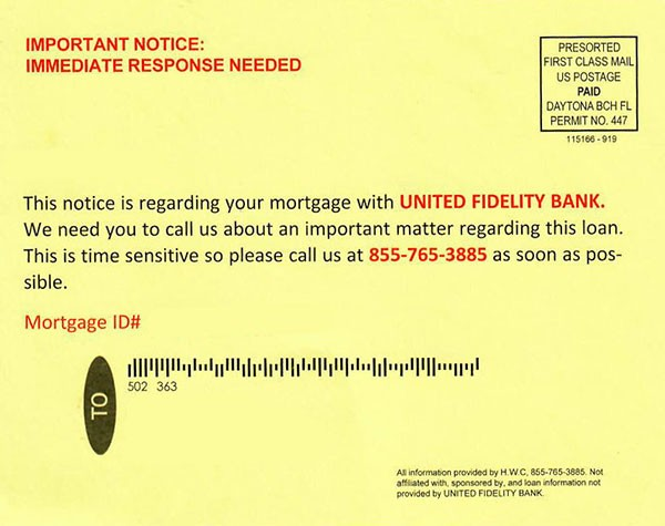 Mortgage Postcard Scam